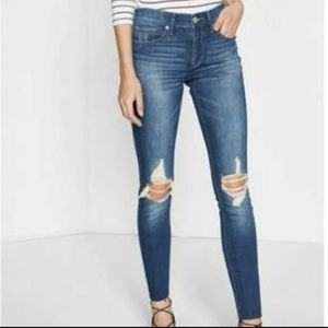 Express Ripped Skinny Jeans Leggings Size 4 Medium Wash Mid Rise